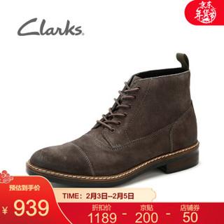 Clarks其乐男鞋2020秋季经典款Blackford Cap英伦风马丁靴潮流骑士靴皮靴 灰色261272377 42.5