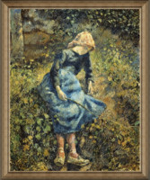 雅昌 毕沙罗《牧羊女》87×72cm 装饰画 油画布