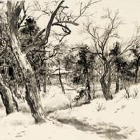 Artron 雅昌 关山月 新中式古典风景国画《积雪》54×65cm 宣纸 茶褐色