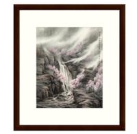 雅昌 董希源《桃花枝上》古典风景国画水墨画 茶褐色 54×61cm