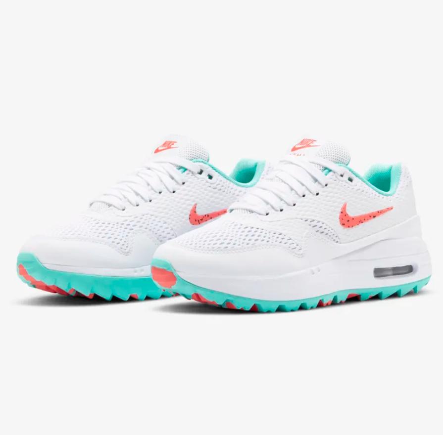 NIKE 耐克 Air Max 1 G 女子高爾夫球鞋  CI7736-101 白色/極光綠/潘趣紅 40