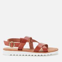 Barbour Sandside 女士系带皮革凉鞋 深棕褐色