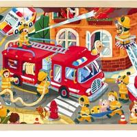 TOI 图益 儿童故事幼儿木质拼图玩具 消防车(24片) *3件