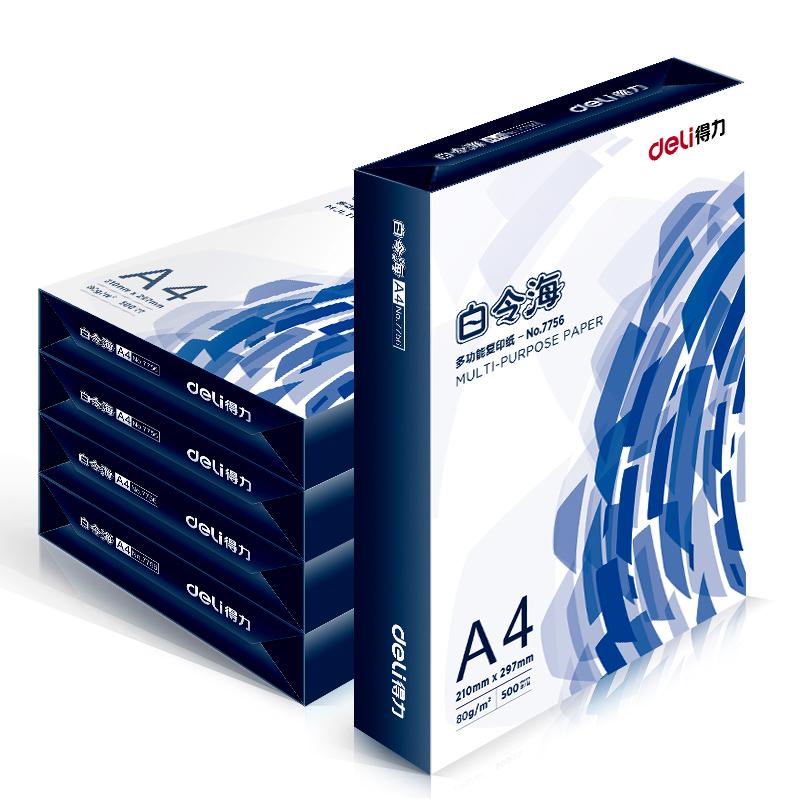 deli 得力 白令海 80g A4 复印纸 打印纸 500张/包 5包1箱(整箱2500张)