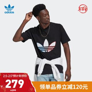 阿迪达斯官网 adidas 三叶草 TRICOL TEE 男装运动短袖T恤GQ8919 黑色 M(参考身高:179~185CM)