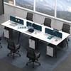 兰冉(lanran)职员桌办公桌屏风卡位电脑桌  黑白纲脚款   【六人位不含柜椅】