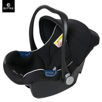 逸乐途(Elittile)婴儿提篮 便携式儿童安全座椅汽车用 宝宝新生儿摇篮 炫酷黑