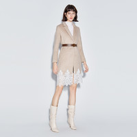 ochirly 欧时力 1RW4343560 女士冬装腰带拼接蕾丝羊毛呢大衣