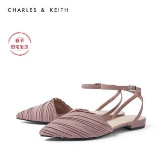 CHARLES&KEITH女鞋CK1-70390288褶皱鞋面尖头凉鞋(36、Mauve紫红色)
