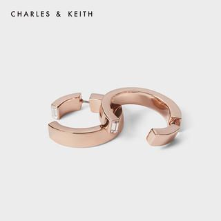 CHARLES&KEITH耳环耳饰CK5-42150002女士复古设计感气质耳环(Rose Gold玫瑰金色)