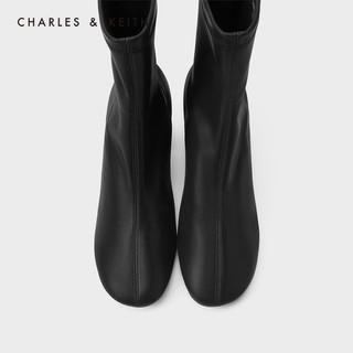 CHARLES&KEITH2020冬季新品CK1-91680120女士简约通勤中跟短靴(37、Brown棕色)