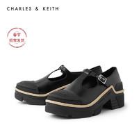 CHARLES&KEITH2020冬季新品CK1-70380828女士时尚厚底中跟单鞋(36、Black黑色)