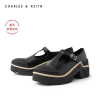 CHARLES&KEITH2020冬季新品CK1-70380828女士时尚厚底中跟单鞋(39、Black黑色)