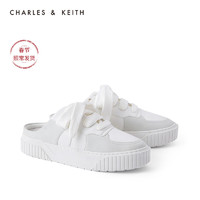 CHARLES&KEITH2021春新品CK1-70900257女士休闲系带运动风穆勒鞋(35、White白色)