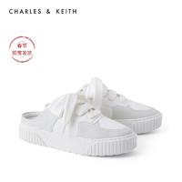 CHARLES&KEITH2021春新品CK1-70900257女士休闲系带运动风穆勒鞋(40、Mint Green薄荷绿色)