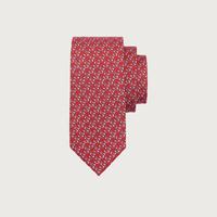 Salvatore Ferragamo/菲拉格慕 男士高爾夫印花桑蠶絲領帶 740626(紅色)
