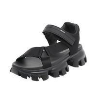Prada/普拉達黑色男士運動涼鞋(8、黑 色)