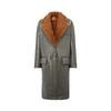 Prada/普拉达灰色纽扣翻盖口袋女士羔羊皮大衣(36、灰 色)