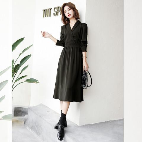 2021春装新款 黑色复古盘扣旗袍式收腰女士连衣裙