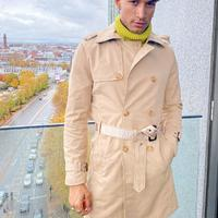 Mauvais trench coat with logo waist banding in beige