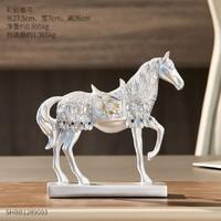 翻舊事 彩鉆銀馬 北歐財運馬擺件 27.5*7*26cm