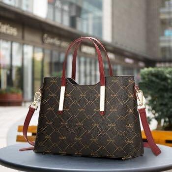 Aman手提包女包包女包欧美时尚简约大气通勤斜跨包可拆卸肩带印花包 6235咖啡色