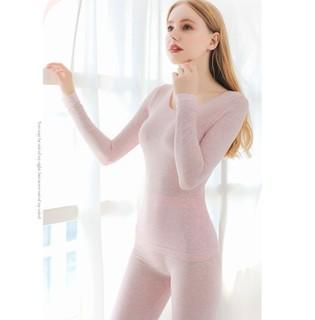 Langsha 浪莎 女士保暖内衣套装 8918 粉色