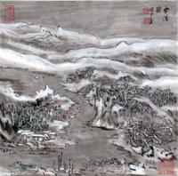 雅昌 《蒙象册12(雪溪图)》陆俨少 艺品 水墨画国画47×47cm