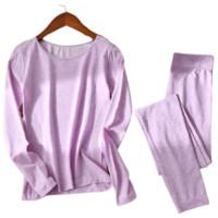 Langsha 浪莎 女士保暖内衣套装 8918 浅紫