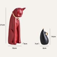 Hoatai Ceramic 華達泰陶瓷 創意貓和老鼠治愈系家居擺件 紅貓黑鼠
