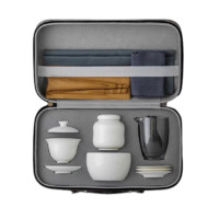 PLUS会员:SUYI 素以 白瓷旅行茶具套装 16件套