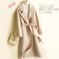 QIYUN法式轻奢品牌 双面羊绒大衣女中长款2020秋冬羊毛呢外套系带收腰显瘦小个子 米白色 M