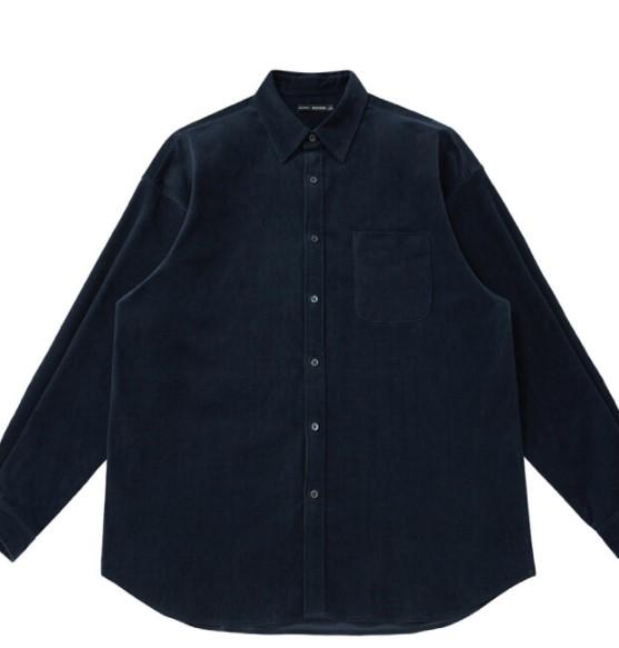 PEACEBIRD 太平鸟 男士灯芯绒长袖衬衫 BWCA93112 深蓝色 L