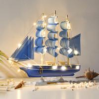 一帆風順帆船擺件工藝品仿真實木小木船模型辦公室裝飾小擺設禮品