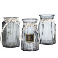 若花 透明玻璃花瓶 3件套