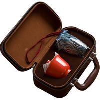 祥福 gf-51081 景德镇陶瓷旅行茶具套装 5件套 柿红