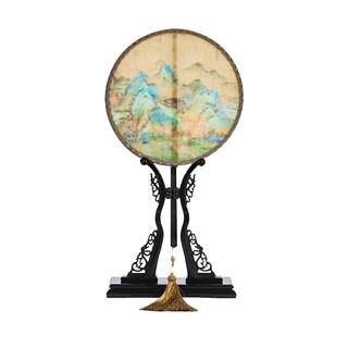 故宮千里江山藝術團扇桌面擺件家居飾品 桑蠶絲 紫光檀扇架扇柄