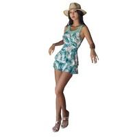 三奇 女子裙式连体泳衣 18100 绿色 XL