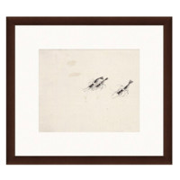 Artron 雅昌 国画水墨画《虾图》齐白石 背景墙装饰画挂画 茶褐色 56×50cm