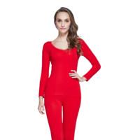 Langsha 浪莎 女士保暖内衣套装 L88950 大红色