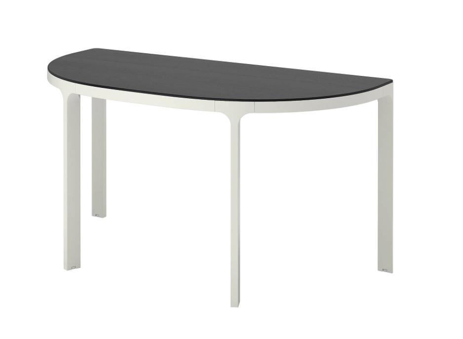 BEKANT 贝肯特 会议桌 黑色白蜡木贴面, 白色 140x70 厘米