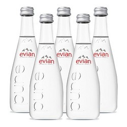 evian 依云 法国Evian依云进口天然弱碱性矿泉水玻璃瓶330ml*5