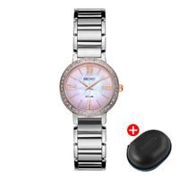 精工(SEIKO)女士时尚腕表施华洛世奇元素表圈太阳能石英腕表