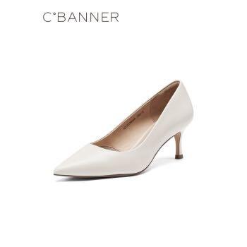 千百度女鞋2021春季新款细跟牛皮鞋白色温柔风正装高跟鞋浅口单鞋 黑色 34