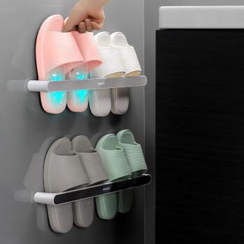 意可可(ecoco)卫生间拖鞋架壁挂免打孔家用浴室墙上置物架门后收纳神器厕所沥水挂架 灰色(长款一个装) *4件