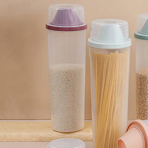 面条收纳盒透明带量杯五谷杂粮罐密封罐厨房储存罐米桶食品储物罐