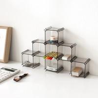 iChoice 抽屉收纳盒整理隔板塑料蜂巢式收纳盒自由组合蜂窝式 透明黑色(6个装)