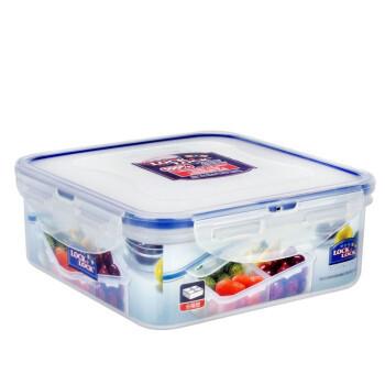 乐扣乐扣 四分隔塑料保鲜盒 微波炉饭盒便当盒 密封食品盒正方形 870ML *3件