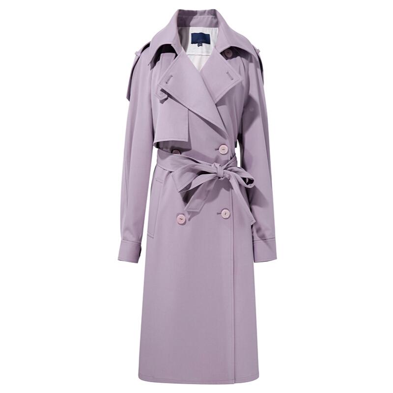 3COLOUR 三彩 女士长款风衣 D042026F00 紫色 160/84A/M