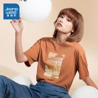 JEANSWEST 真维斯 JW-03-273TB502 女装纯棉圆领印花短袖T恤